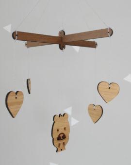 Wooden mobiles, bear & hearts