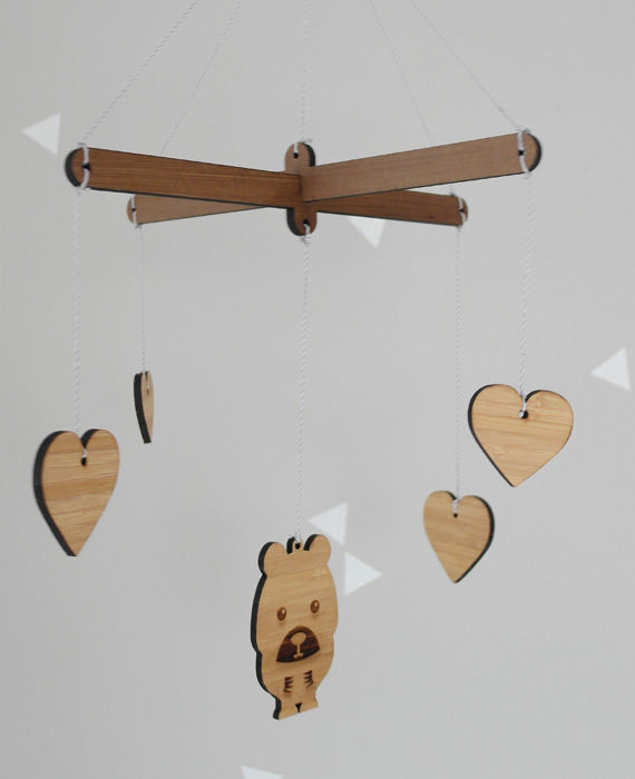 Wooden mobiles, bear & hearts
