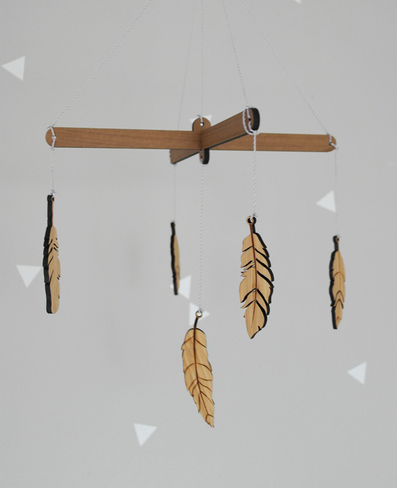 Wooden mobiles, Bohemian, feathers