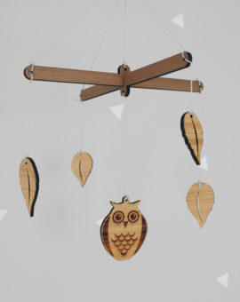 Wooden mobiles, owl, leaves