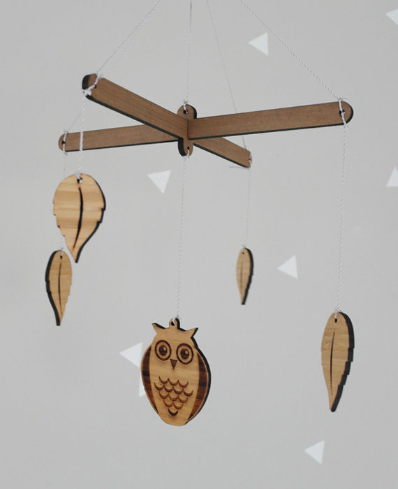 Wooden mobiles, owl, leaves