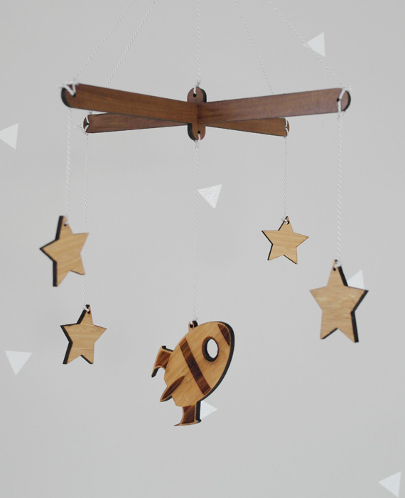 Wooden mobile, rocket, stars