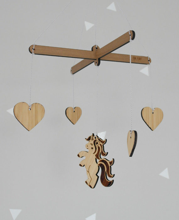 Wooden mobile, unicorn, hearts