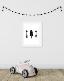 Scandinavian inspired wall art print, black & white, arrows