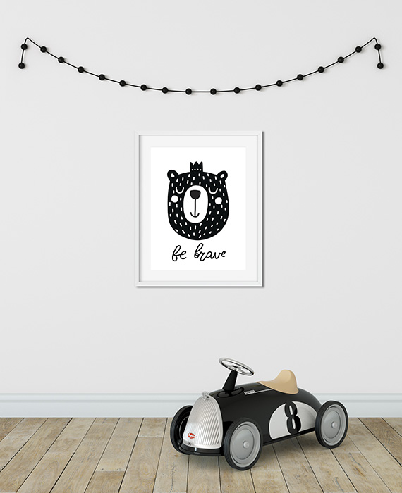 Scandinavian inspired wall art print, black & white, bear, be brave