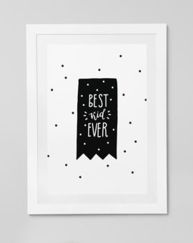 Scandinavian inspired wall art print, black & white, bear, best kid ever