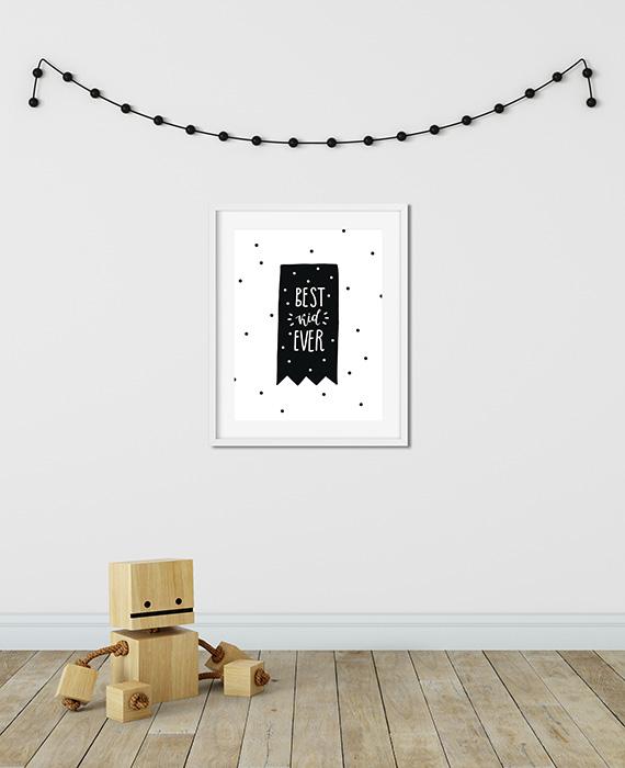 Scandinavian inspired wall art print, black & white, bear, best kid ever