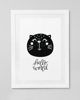 Scandinavian inspired wall art print, black & white, bear, cat