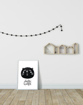 Scandinavian inspired wall art print, black & white, bear, cat