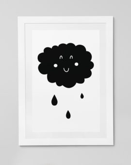 Scandinavian inspired wall art print, black & white, cloud & rain drops