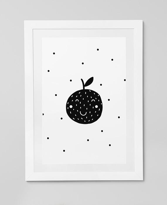 Scandinavian inspired wall art print, black & white, Fruit