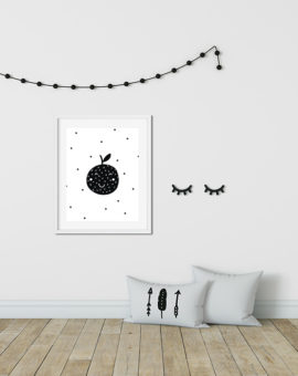 Scandinavian inspired wall art print, black & white, Fruit
