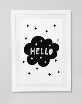 Scandinavian inspired wall art print, black & white, Hello