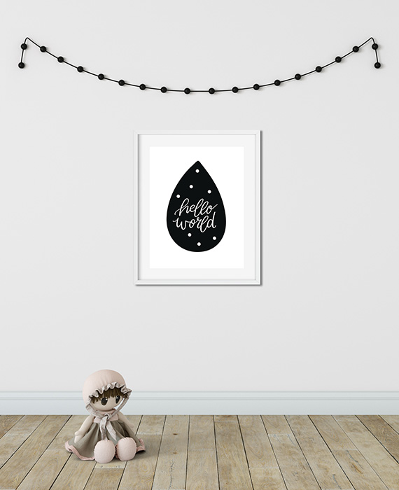 Scandinavian inspired wall art print, black & white, Hello World
