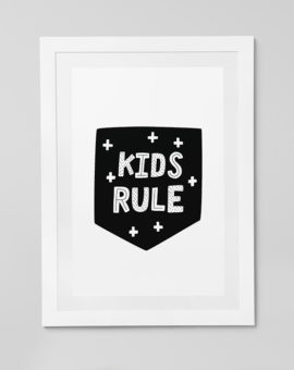 Scandinavian inspired wall art print, black & white, Kids Rule