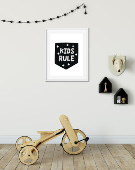 Scandinavian inspired wall art print, black & white, Kids Rule