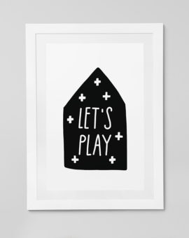 Scandinavian inspired wall art print, black & white, Let's Play