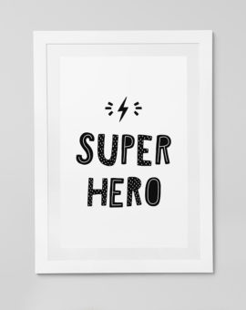Scandinavian inspired wall art print, black & white, Super Hero