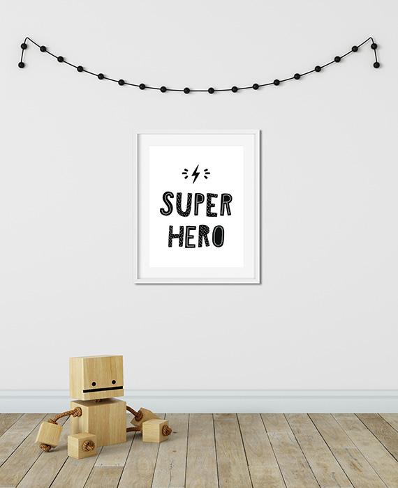 Scandinavian inspired wall art print, black & white, Super Hero