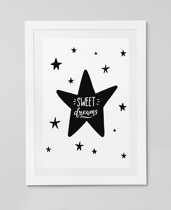 Scandinavian inspired wall art print, black & white, Sweet Dreams