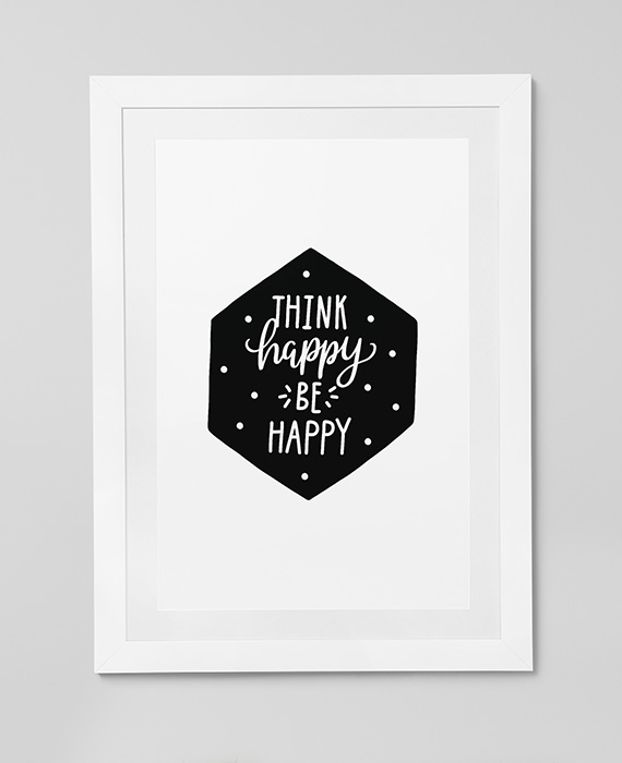 Scandinavian inspired wall art print, black & white, Think Happy Be Happy