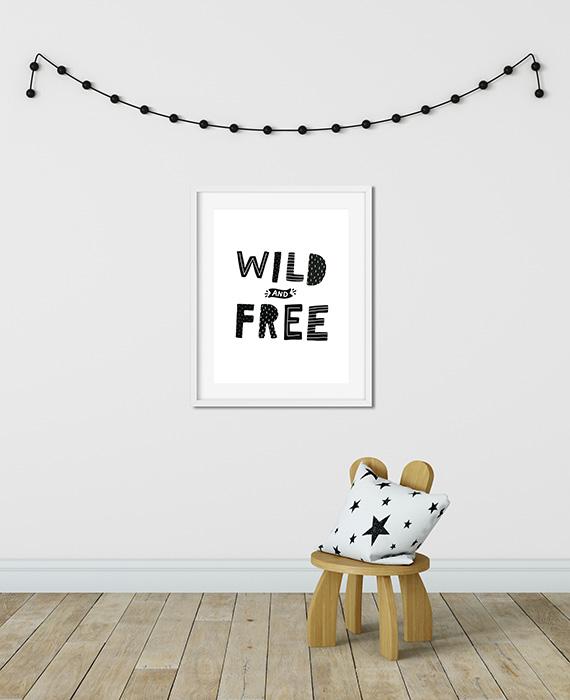 Scandinavian inspired wall art print, black & white, Wild & Free